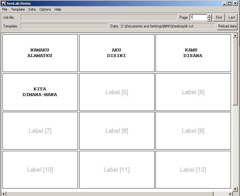 ... jenis dan ukuran font, align dapat kita pilih menu File-Format labels